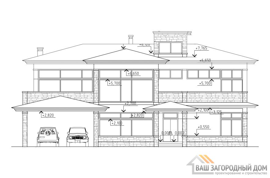 Проект 2 этажного газобетонного дома площадью 365 м2, К-0198