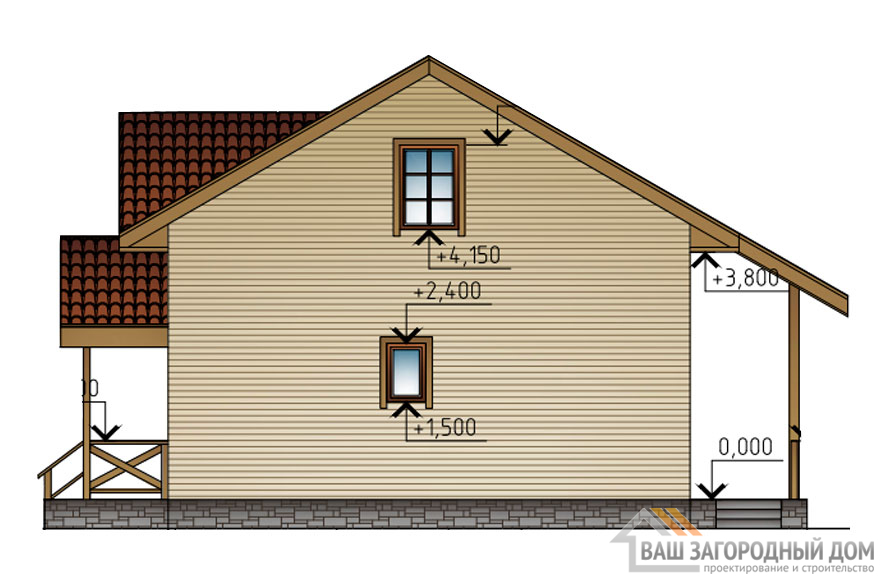 Проект 2 этажного каркасного дома площадью 118 м2, КР-02132