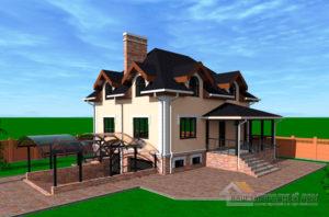 Проект 2 этажного дома  из несъемной опалубки площадью 272 м2, К-0222