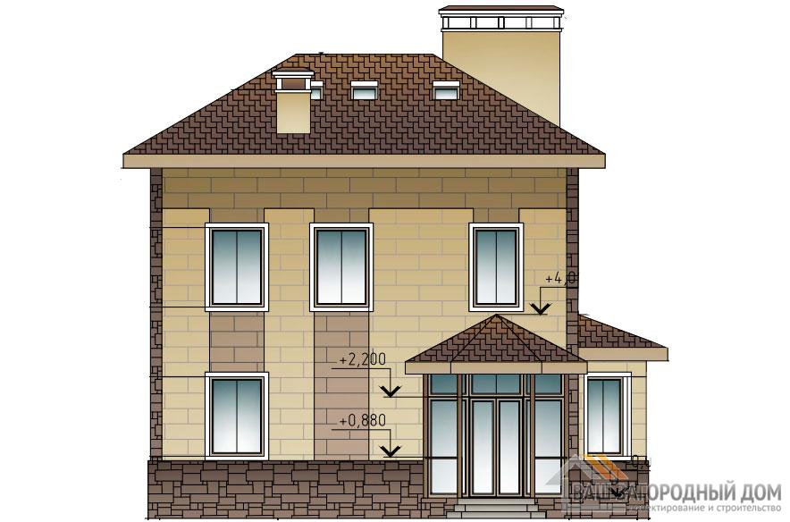 Проект 2 этажного газобетонного дома площадью 227 м2, К-0226