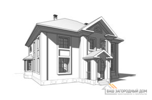 Проект 2 этажного пенобетонного дома площадью 256 м2, К-0230