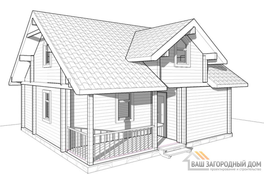 Проект 1 этажного деревянного дома площадью 117 м2, Д-0231
