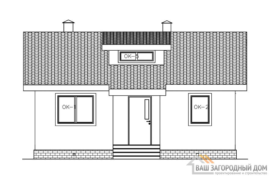 Проект 1 этажного дома, возведенного из каркасных блоков площадью 59 м2, К-02382
