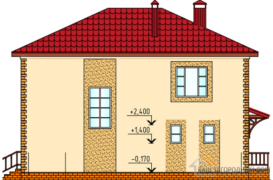 Проект 2 этажного керамзитобетонного дома площадью 169 м2, К-02442