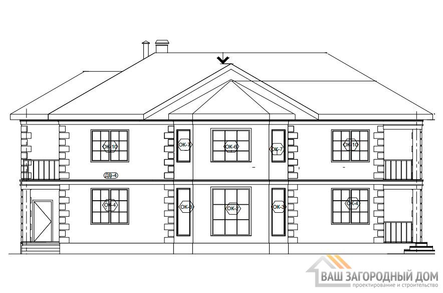 Проект 2 этажного кирпичного дома площадью 402 м2, К-0246