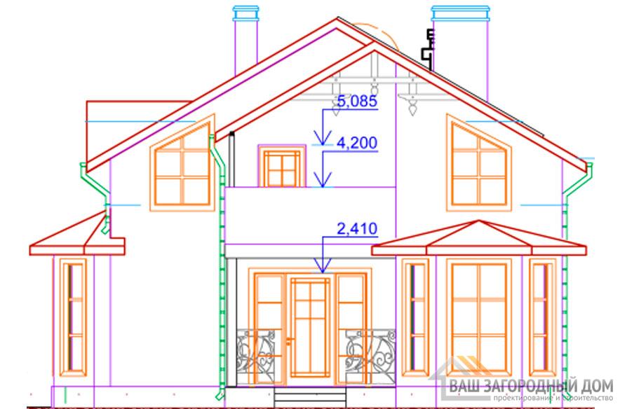 Проект 2 этажного каркасного дома площадью 143 м2, КР-0248