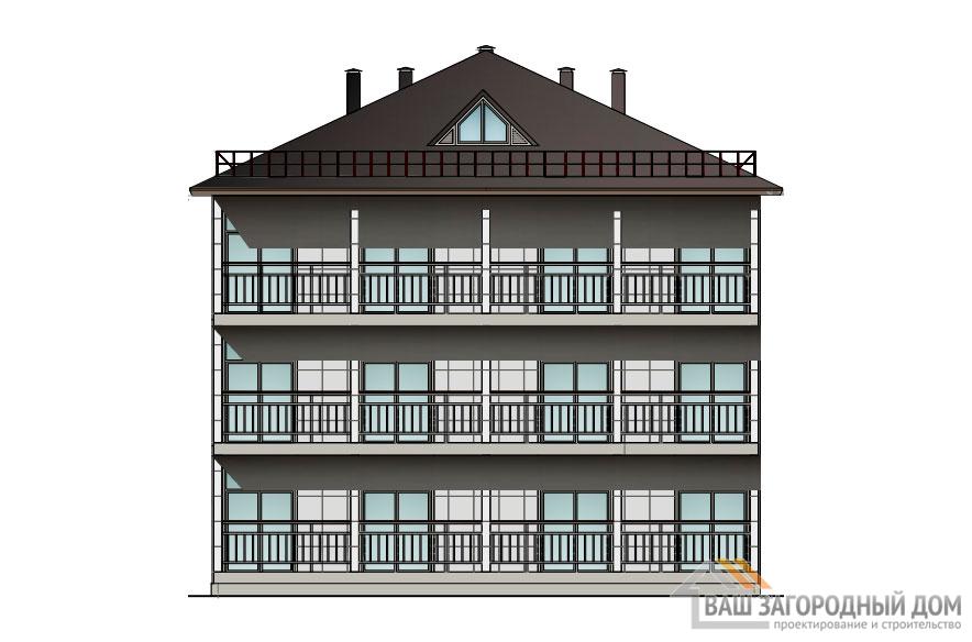 Проект 2 этажного каркасного дома площадью 408 м2, КР-0250
