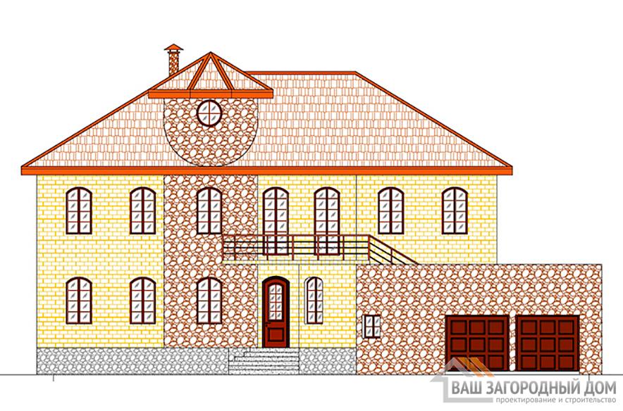 Проект 2-х этажного дома с цоколем и гаражом, общей площадью 448 м2, К-0119