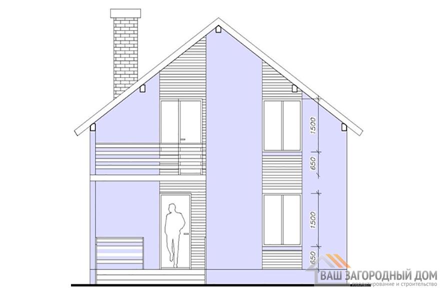 Проект 2-х этажного года с двускатной крышей, общей площадью 162,5 м2, К-0128