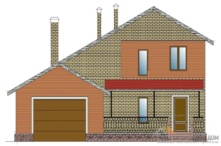 Проект дома в два этажа с гаражом, общей площадью 206,6 м2, К-0143
