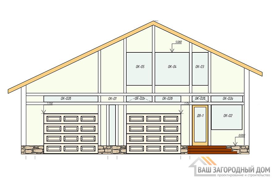 Проект гаража с жилыми комнатами, общей площадью 137,4 м2, К-0145