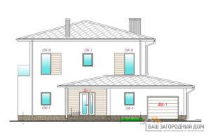 Проект 2-х этажного коттеджа с гаражом, общей площадью 283 м2, К-0436