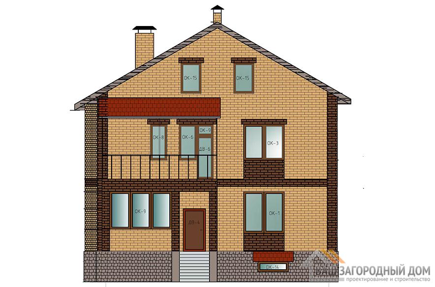 Готовый проект дома в 2 этажа с цоколем и чердачным помещением, площадью 327,8 м2, К-0120