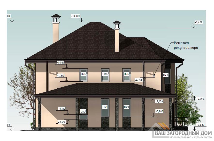 Проект двухэтажного дома, общей площадью 208,4 м2, К-0429