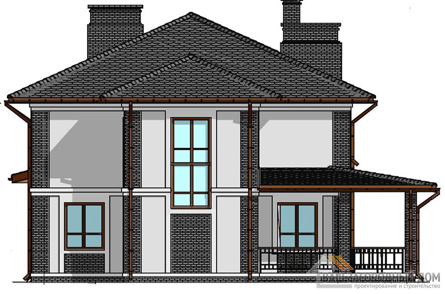 Проект классического дома в 2 этажа, общей площадью 296 м2, К-0435