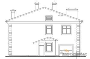 Проект двухэтажного дома с гаражом, общей площадью 218,4 м2, К-04392