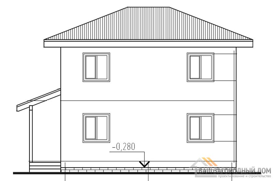 Проект компактного дома в два этажа, общей площадью 87,23 м2, К-04322
