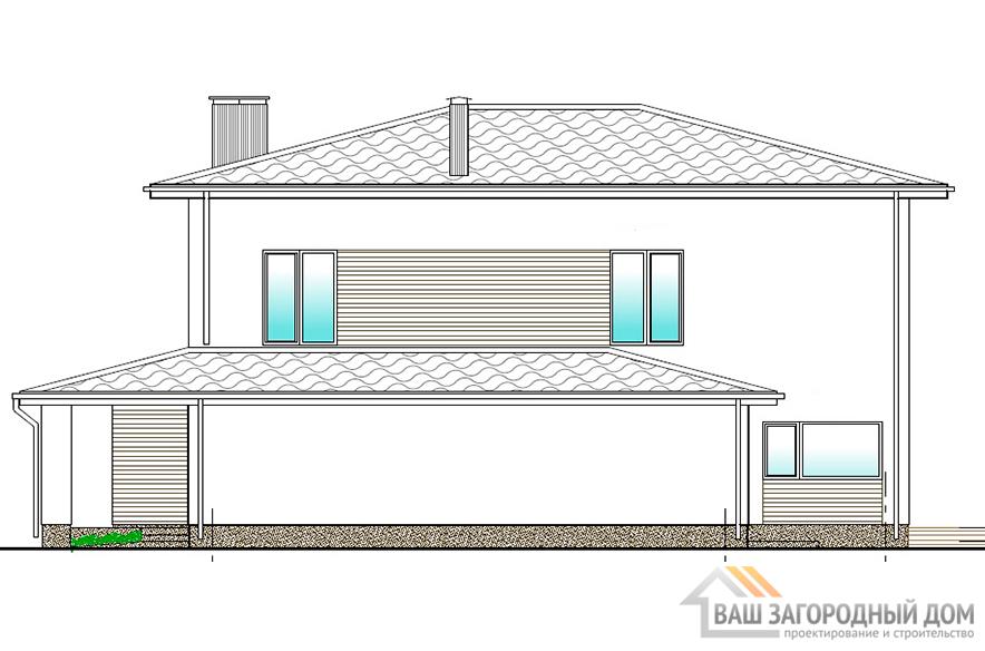 Проект 2-х этажного коттеджа с гаражом, общей площадью 283 м2, К-04362