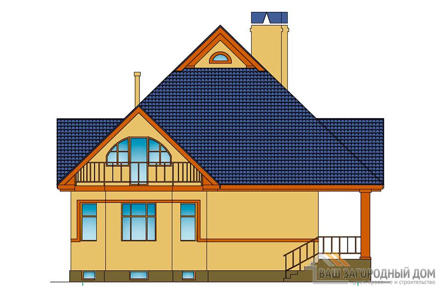 Проект 2-х этажного дома с цоколем и гаражом, общей площадью 345 м2, К-0107