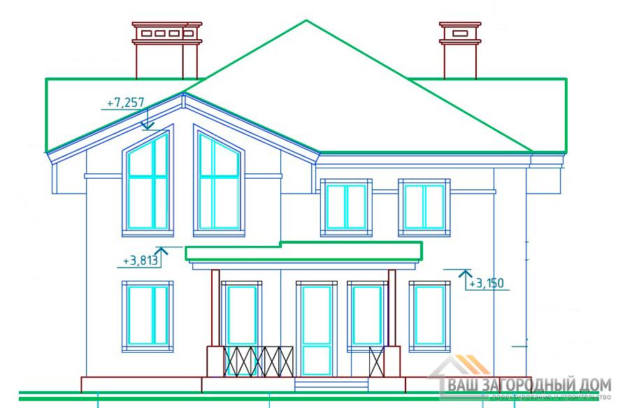 Проект дома в 2 этажа, общей площадью 200,33 м2, К-0124