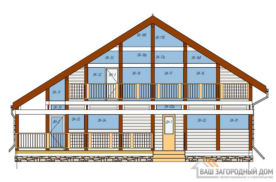 Проект одноэтажного дома с мансардой и подвалом, общей площадью 455,9 м2, К-0144
