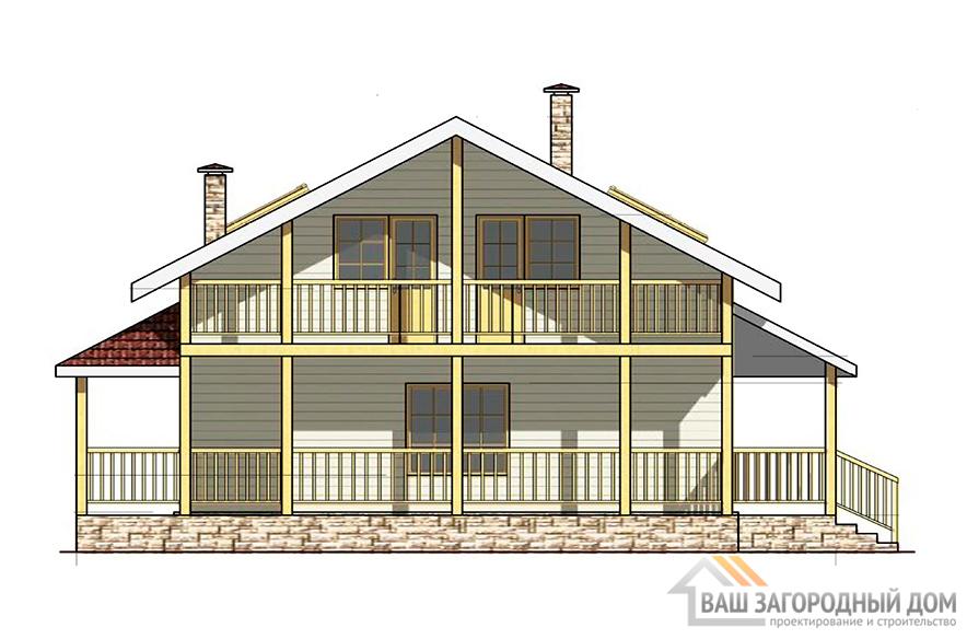 Готовый проект каркасного дома с мансардой, общей площадью 184,73 м2, К-0150