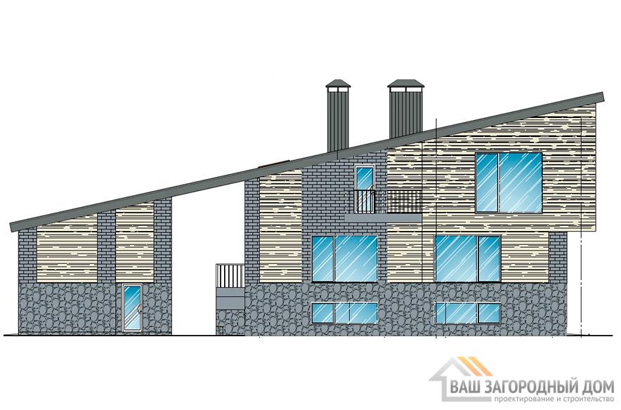 Проект 2-х этажного коттеджа с бассейном, общей площадью 428,2 м2, К-0433
