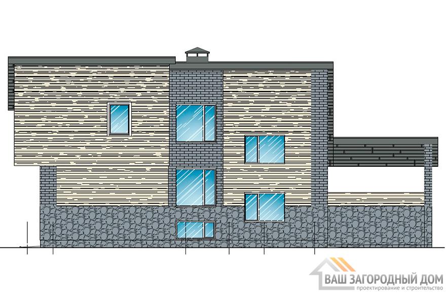 Проект 2-х этажного коттеджа с бассейном, общей площадью 428,2 м2, К-04332