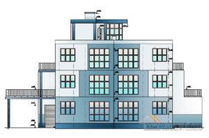 Проект здания в 4 этажа, общей площадью 871,7 м2 ,К-0114