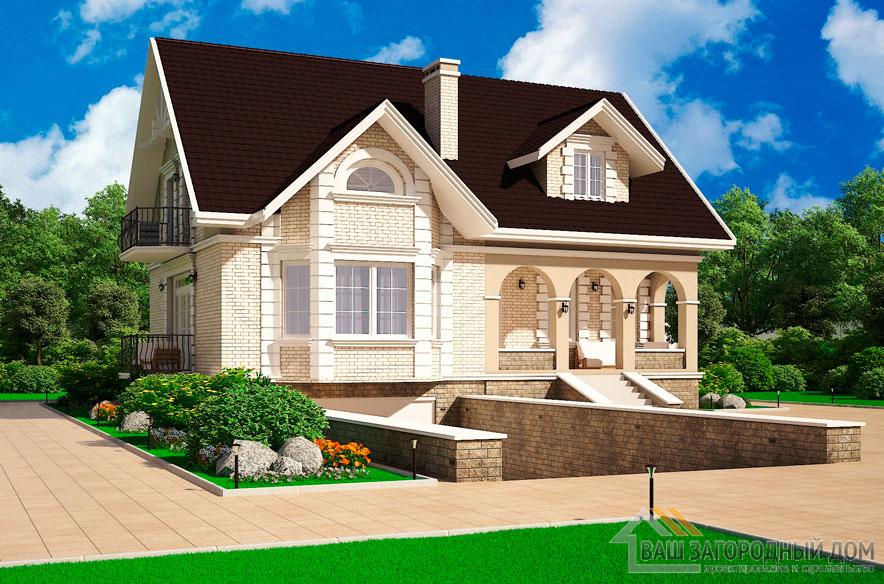 Проект 2 этажного кирпичный дома площадью 255 м2, К-0087