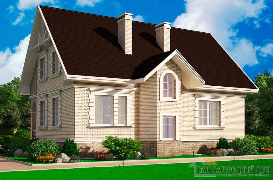 Проект 2 этажного кирпичный дома площадью 255 м2, К-00872