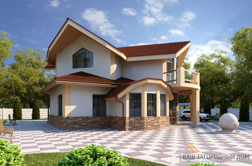 Проект 2 этажного пенополистеролбетонного дома площадью 200 м2, К-0093