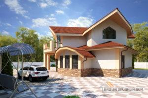 Проект 2 этажного пенополистеролбетонного дома площадью 200 м2, К-00932
