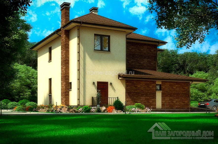 Проект 2 этажного дома возведенного из пенобетонных блоков площадью 200 м2, К-03552