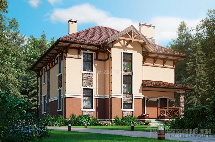 Проект 2 этажного дома возведенного из газобетонных блоков площадью 199 м2, К-04042