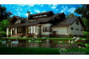 Проект 2 этажного дома с шатровым покрытием, общей площадью 466,4 м2 К-00172
