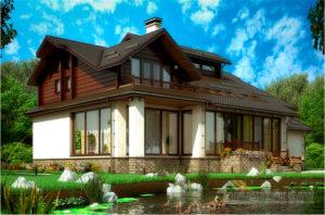 Проект 2 этажного дома с шатровым покрытием, общей площадью 466,4 м2, К-0017