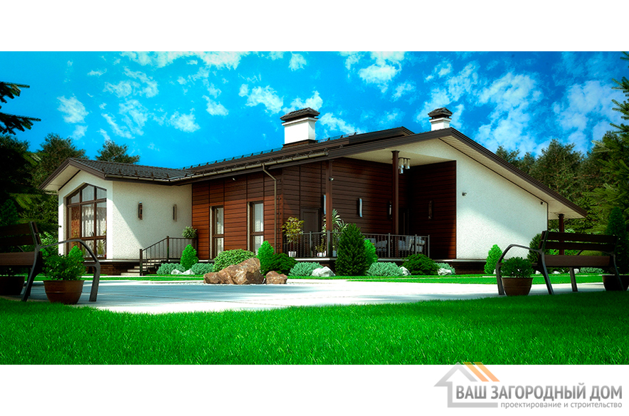 Проект одноэтажного коттеджа с панорамными окнами, общей площадью 169,3 м2, К-00492