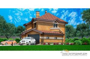 Проект двухэтажного коттеджа с гаражом, общей площадью 171 м2 К-03082