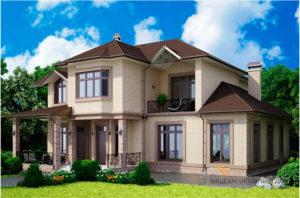Проект 2-х этажного дома с многоскатной крышей, общей площадью 381,35 м2, К-0223