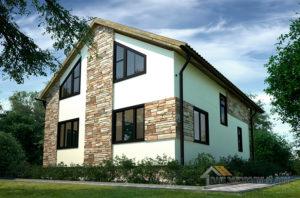 Проект одноэтажного дома с мансардой, общей площадью 155 м2, К-0237