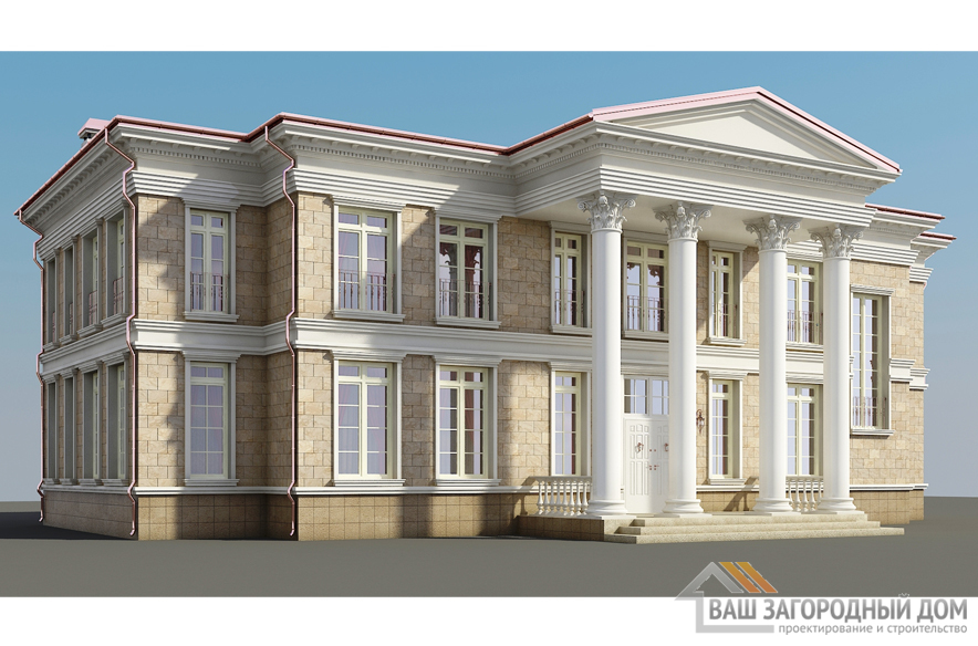 Проект 2 этажного кирпичного дома площадью 586 м2, К-0253