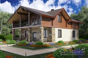 Проект 2 этажного кирпичного дома площадью 215 м2, К-0273