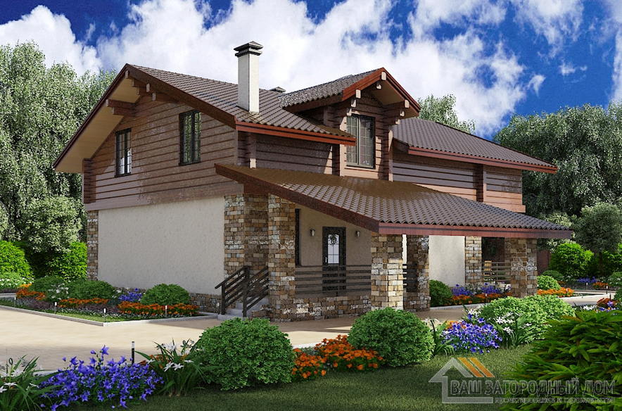 Проект 2 этажного дома, возведенного из кирпича площадью 215 м2, К-02732