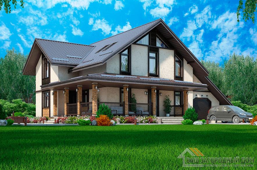 Проект 2 этажного газобетонного дома площадью 196 м2, К-0307