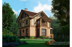 Проект коттеджа в 2 этажа с мансардой, общей площадью 301 м2 К-03902