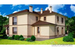 Проект 2-х этажного дома с многоскатной крышей, общей площадью 381,35 м2 К-02232