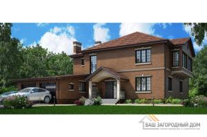 Проект 2 этажного дома из поризованных блоков площадью 291 м2, К-0317