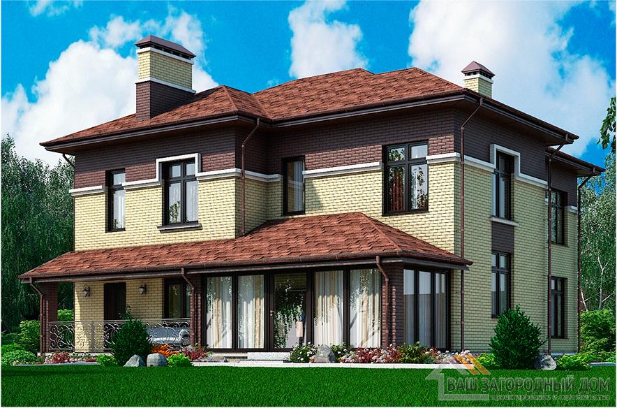 Проект двухэтажного коттеджа, общей площадью  243,6 м2, К -0325