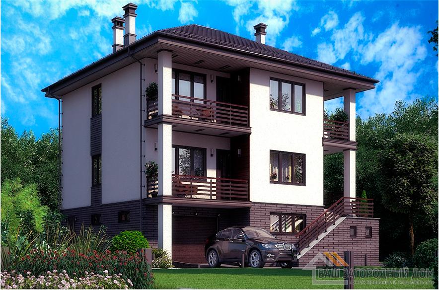 Проект двухуровневого коттеджа с цокольным этажом, общей площадью 308 м2, К-0328